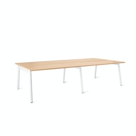 Series A Double Desk For 4, White Legs
