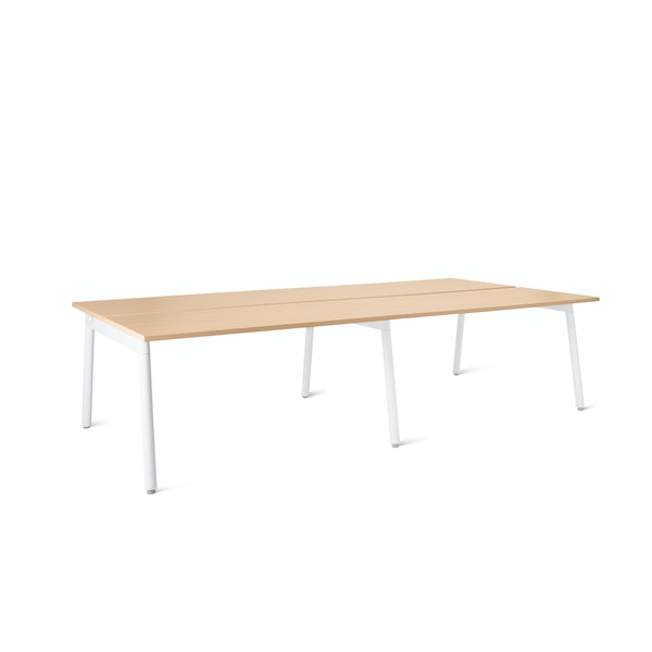 "Series A Double Desk for 4, Natural Oak, 47"", White Legs,Natural Oak,hi-res"