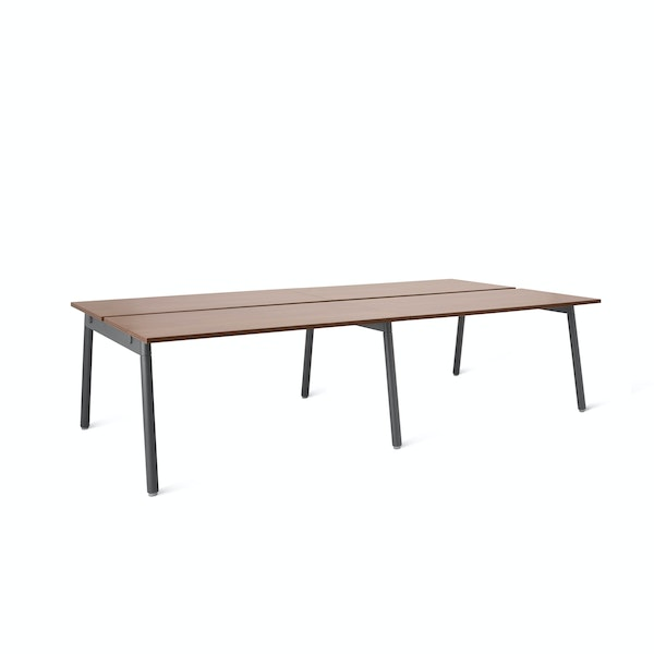 """Series A Double Desk for 4, Walnut, 47"""", Charcoal Legs,Walnut,hi-res"""
