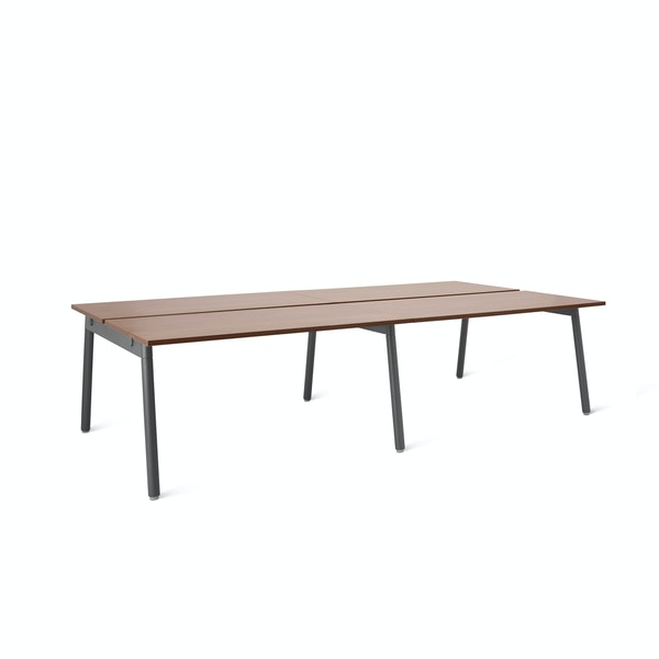 "Series A Double Desk for 4, Walnut, 47"", Charcoal Legs,Walnut,hi-res"
