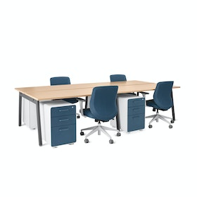 Series A Double Desk for 4, Charcoal Legs