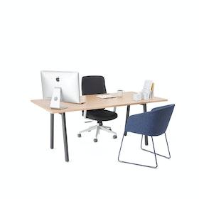 """Series A Executive Desk, Natural Oak, 72"""", Charcoal Legs,Natural Oak,hi-res"""