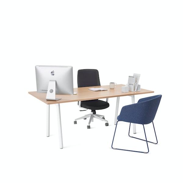 "Series A Executive Desk, Natural Oak, 72"", White Legs,Natural Oak,hi-res"