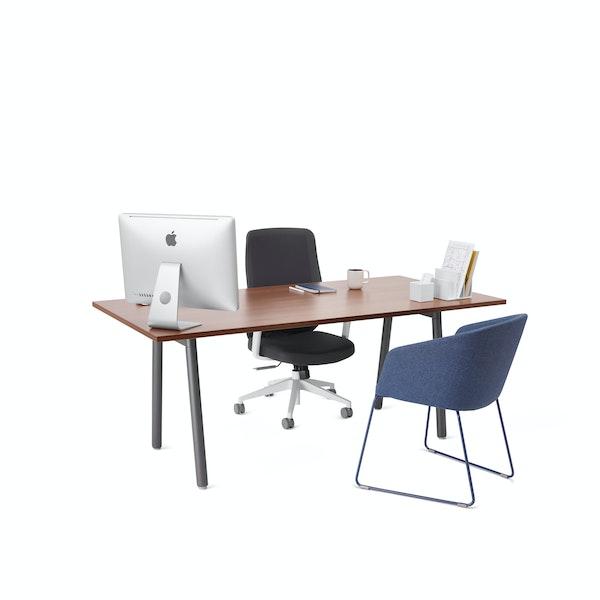 """Series A Executive Desk, Walnut, 72"""", Charcoal Legs,Walnut,hi-res"""