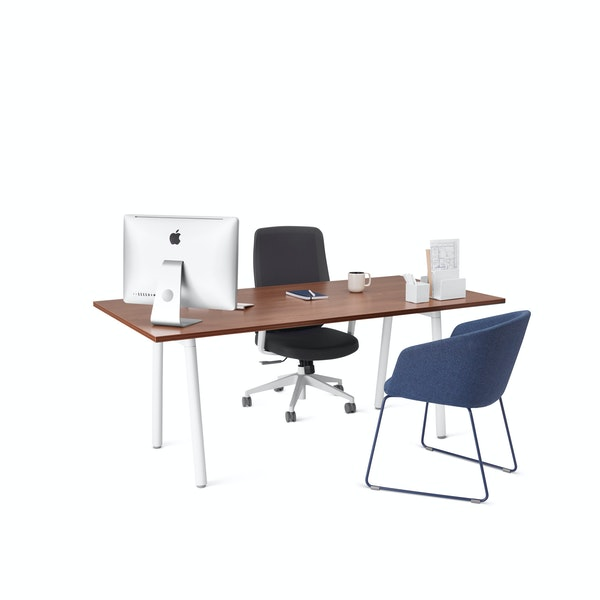 "Series A Executive Desk, Walnut, 72"", White Legs,Walnut,hi-res"
