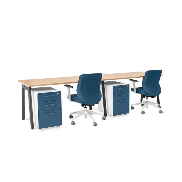 """Series A Single Desk for 2, Natural Oak, 57"""", Charcoal Legs,Natural Oak,hi-res"""