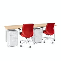 "Series A Single Desk for 2, Natural Oak, 47"", White Legs,Natural Oak,hi-res"