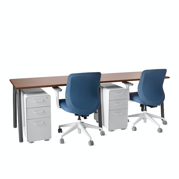 "Series A Single Desk for 2, Walnut, 47"", Charcoal Legs,Walnut,hi-res"