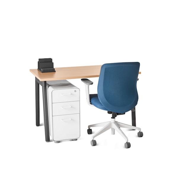 """Series A Single Desk for 1, Natural Oak, 47"""", Charcoal Legs,Natural Oak,hi-res"""