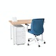 "Series A Single Desk for 1, Natural Oak, 47"", White Legs,Natural Oak,hi-res"