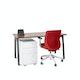 "Series A Single Desk for 1, Walnut, 57"", Charcoal Legs,Walnut,hi-res"