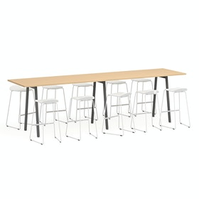 "Series A Standing Table, Natural Oak, 144x36"", Charcoal Legs"
