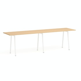 "Series A Standing Table, Natural Oak, 144x36"", White Legs"