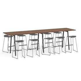 """Series A Standing Table, Walnut, 144x36"""", Charcoal Legs,Walnut,hi-res"""