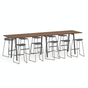"Series A Standing Table, Walnut, 144x36"", Charcoal Legs"
