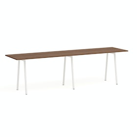 "Series A Standing Table, Walnut, 144x36"", White Legs"