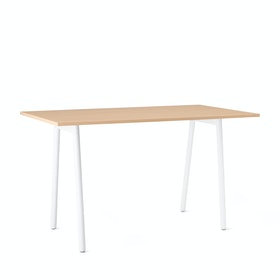 "Series A Standing Table, Natural Oak, 72x36"", White Legs"