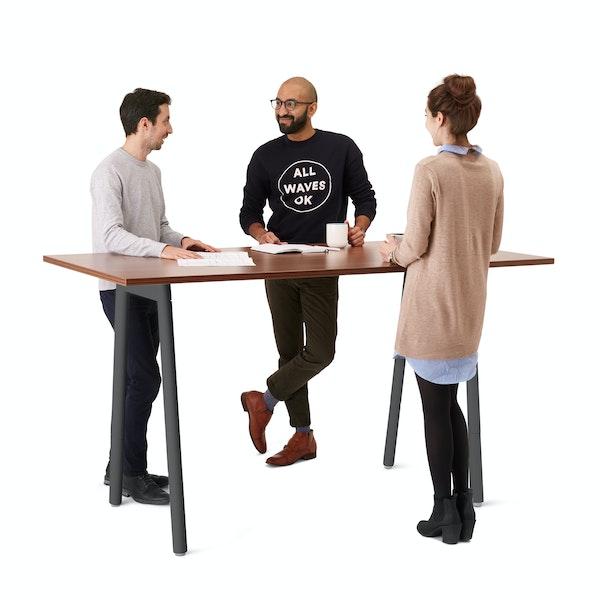 """Series A Standing Table, Walnut, 72x36"""", Charcoal Legs,Walnut,hi-res"""