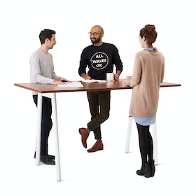 "Series A Standing Table, Walnut, 72x36"", White Legs"