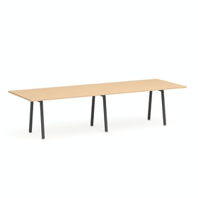 "Series A Conference Table, Natural Oak, 124x42"", Charcoal Legs"