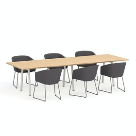 "Series A Conference Table, Natural Oak, 124x42"", White Legs"