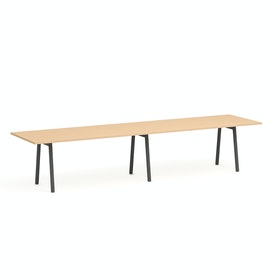 "Series A Conference Table, Natural Oak, 144x36"", Charcoal Legs"