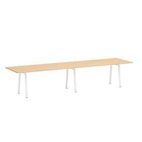 "Series A Conference Table, Natural Oak, 144x36"", White Legs"