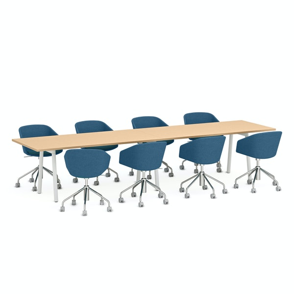 "Series A Conference Table, Natural Oak, 144x36"", White Legs,Natural Oak,hi-res"