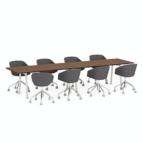 "Series A Conference Table, Walnut, 144x36"", White Legs,Walnut,hi-res"