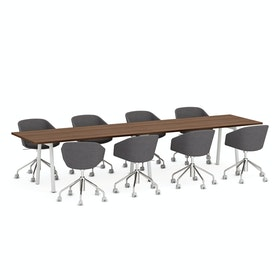 "Series A Conference Table, Walnut, 144x36"", White Legs"