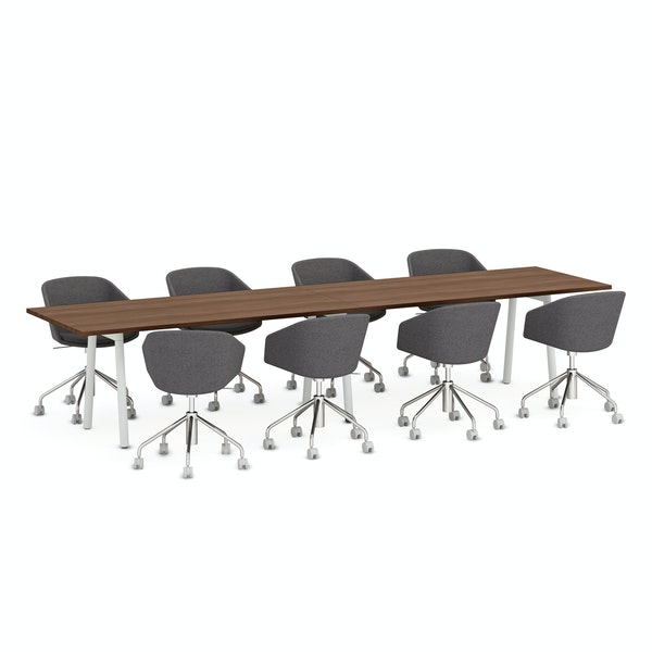 """Series A Conference Table, Walnut, 144x36"""", White Legs,Walnut,hi-res"""