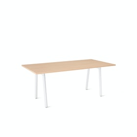 "Series A Conference Table, Natural Oak, 72x36"", White Legs"