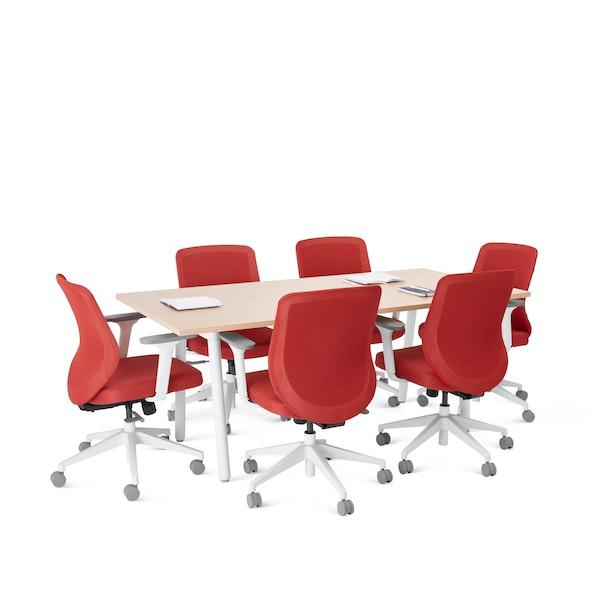 "Series A Conference Table, Natural Oak, 72x36"", White Legs,Natural Oak,hi-res"