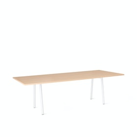 "Series A Conference Table, Natural Oak, 96x42"", White Legs"