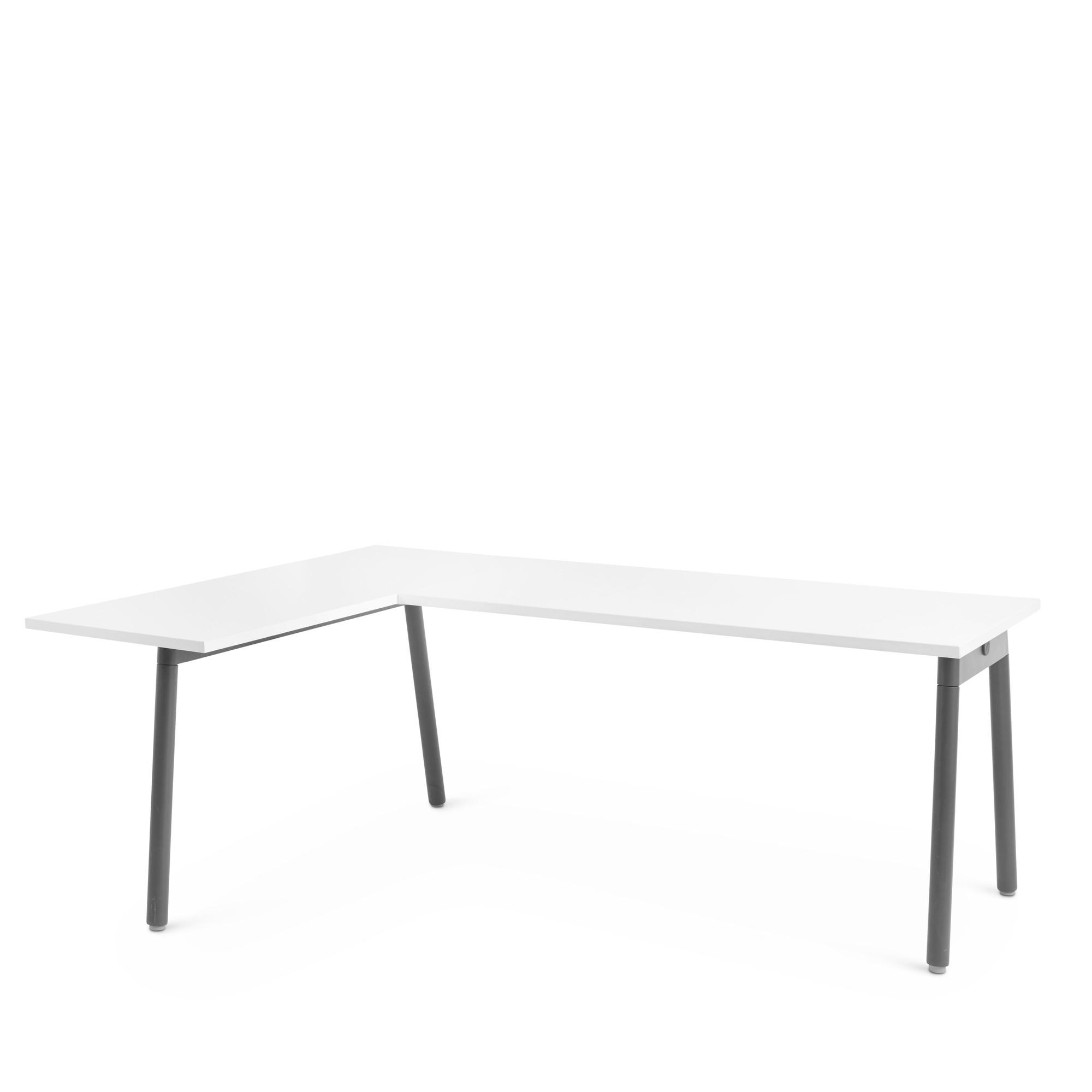 White Series A Corner Desk With Charcoal Base Left Handed Desks Poppin