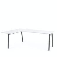 Series A Corner Desk with Charcoal Legs, Left Handed,White,hi-res