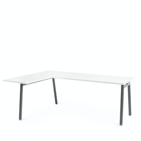 Series A Corner Desk, White with Charcoal Base, Left Handed,White,hi-res