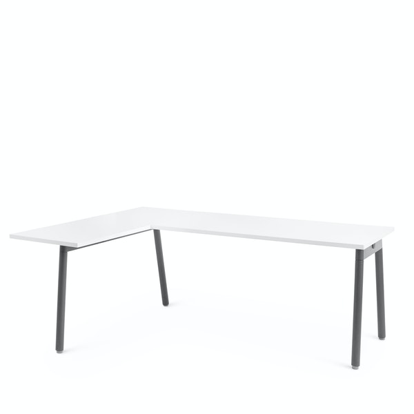 Series A Corner Desk, White with Charcoal Base, Left Handed,,hi-res