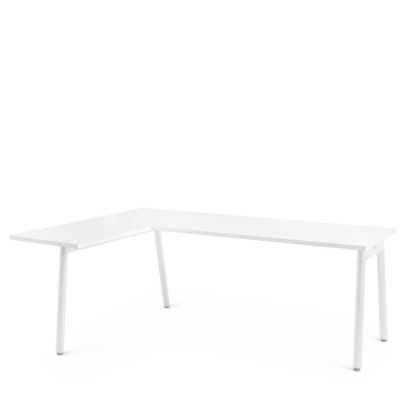 Series A Corner Desk, White with White Base, Left Handed,White,hi-res