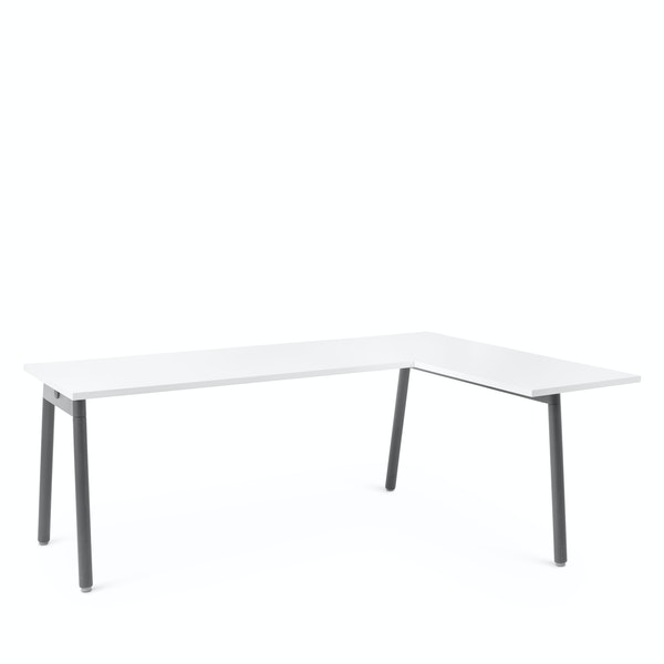 Series A Corner Desk, White with Charcoal Base, Right Handed,,hi-res
