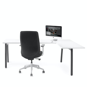 Series A Corner Desk, White with Charcoal Base, Right Handed