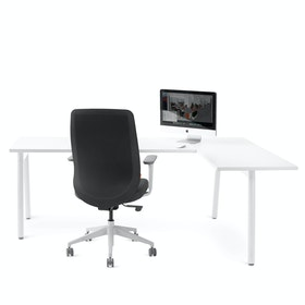 Series A Corner Desk, White with White Base, Right Handed