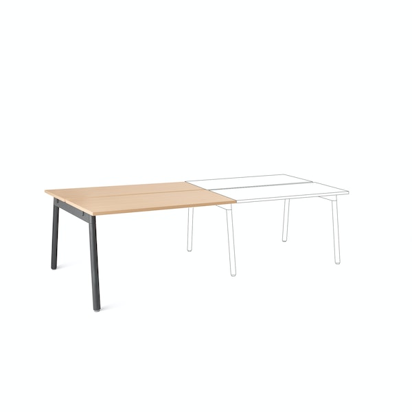"Series A Double Desk Add On, Natural Oak, 47"", Charcoal Legs,Natural Oak,hi-res"