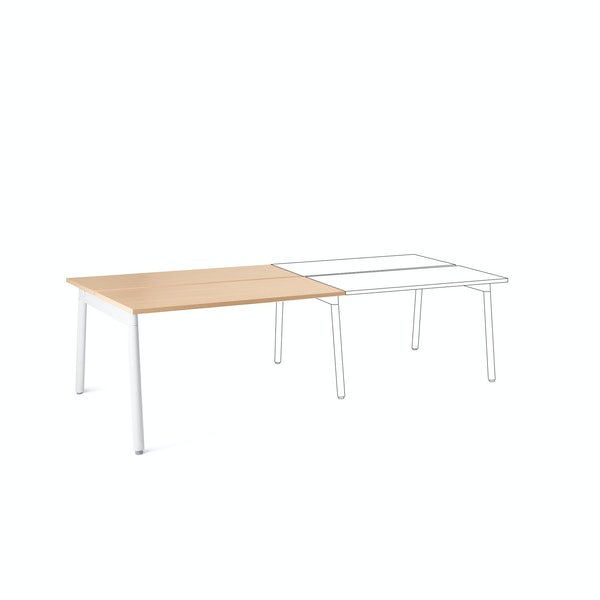 "Series A Double Desk Add On, Natural Oak, 47"", White Legs,Natural Oak,hi-res"