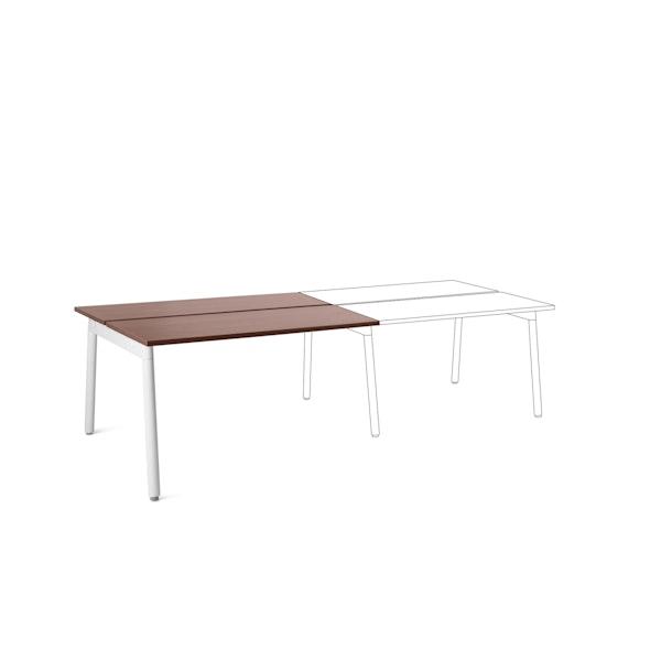 "Series A Double Desk Add On, Walnut, 47"",  White Legs,Walnut,hi-res"