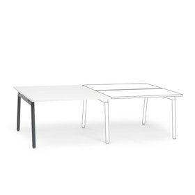 "Series A Double Desk Add On, White, 47"", Charcoal Legs"