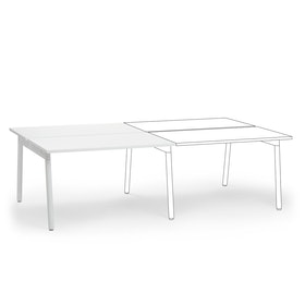 "Series A Double Desk Add On, White, 47"", White Legs"