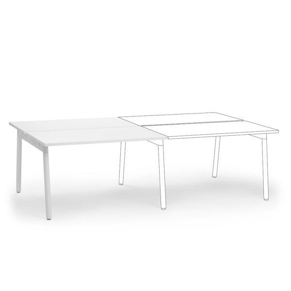 """Series A Double Desk Add On, White, 47"""", White Legs,White,hi-res"""