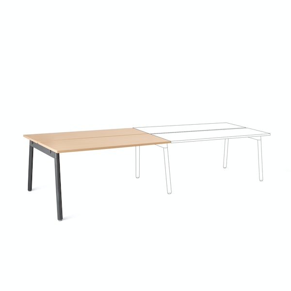 "Series A Double Desk Add On, Natural Oak, 57"", Charcoal Legs,Natural Oak,hi-res"