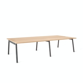 "Series A Double Desk Add On, Natural Oak, 57"", Charcoal Legs"
